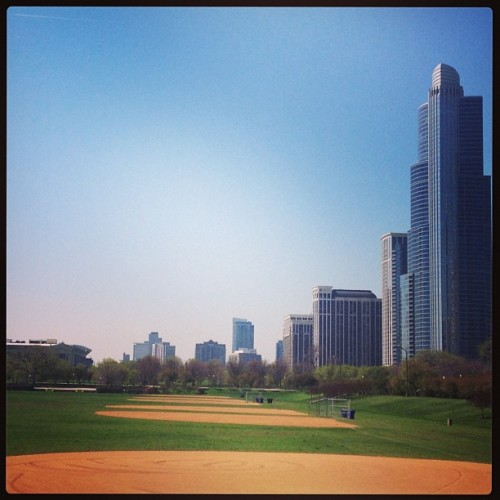 Baseball. #chicago springtime. I could smell cut grass when I took this.
