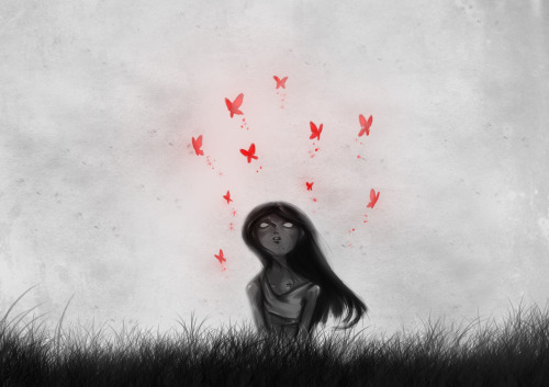 """Butterflies""   Drawing by gyllenmaya == Contribute your Tiny Stories HERE!"