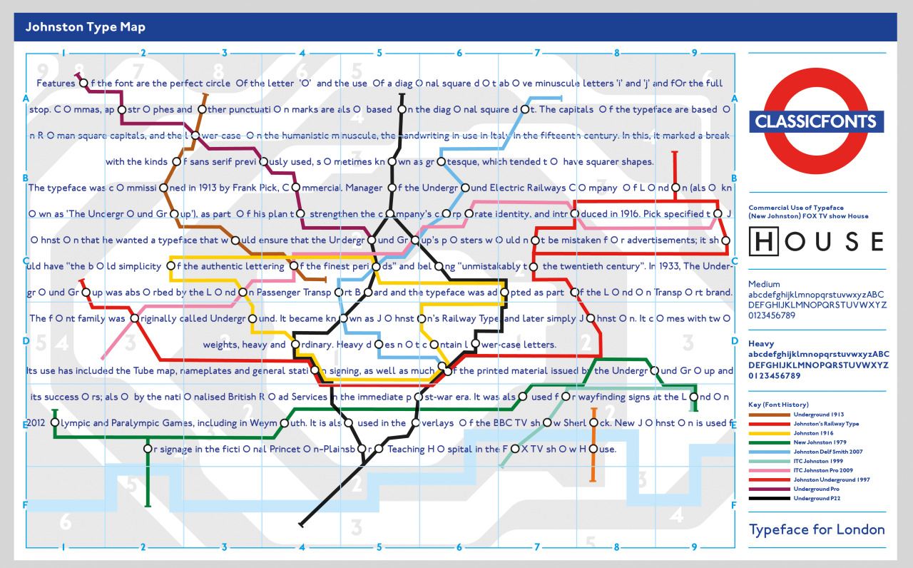 2nd type spec poster (Johnston - London Underground) train lines mapped out of 'O's in the descriptive paragraph. train line plotting is as close to accurate as possible (i think) 'Key' - timeline/history if the typeface and its developments.