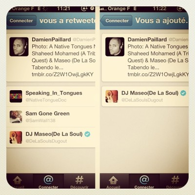 MASEO a.k.a Plug Three from legendary Hip Hop  trio DE LA SOUL, retweeted my pictures and add me… Mad appreciate!!!