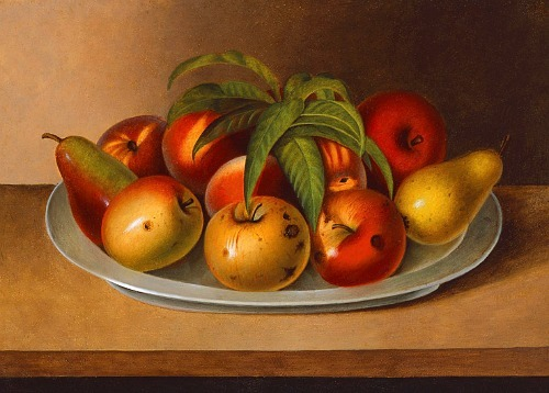 Rubens Peale Apples and Two Pears on a Pewter Plate 1861