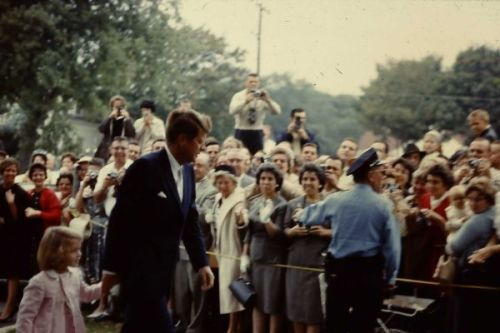 thosekennedys:   10.20.1963: President John F. Kennedy and Caroline Kennedy about to attend Mass at St Francis Xavier Roman Catholic Church (at 347 South Street Hyannis) taken by tourist then 26 yr old John DeLuca who with his wife Mary who were on vacation at Cape Cod.