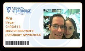 My Guinness ID photo, to prove that I'm an honorary apprentice