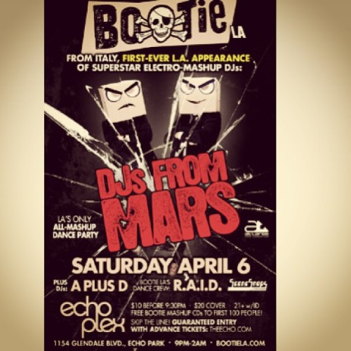 Ok, yeah I'm super excited to see @djsfrommars tonight @bootiemashup @theechola #theechoplex