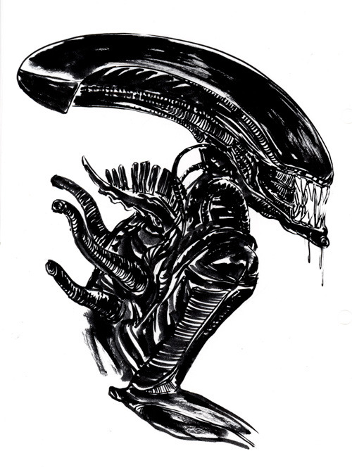 "janemai:  a warm up sketch i did yesterday hr giger/Alien is fascinating to me because they are all very inorganic creatures and ""cold"" feeling and it's something i wish i could emulate instead of study"