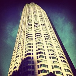 Tallest #building in #downtownla. I am waiting for bus and it is really cold outside. But I love this cold.  (::^3^::) #somewhere #cityscape