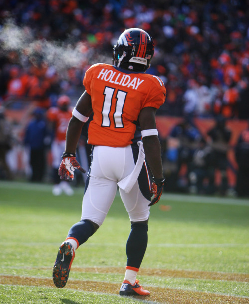 Trindon Holliday, panting after his 90-yard TD return.   Holliday, a former NCAA 100-meter track champion, returned a punt after Baltimore's failed opening possession 90 yards for a touchdown – the longest postseason punt return in NFL history. It was first postseason punt return touchdown in Broncos history. The Broncos claimed Holliday off waivers in October when he was released by Houston, and he has provided plenty of excitement since. — Lindsay H. Jones, USA TODAY Sports   (Photo by Chris Humphreys-USA TODAY Sports)