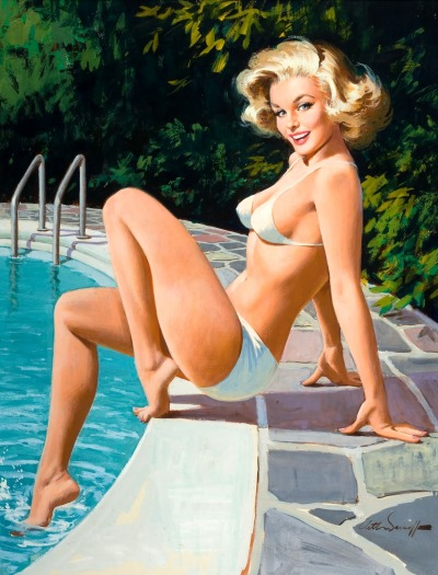 honey-rider:  pulp art by:  Arthur Sarnoff - At the Pool