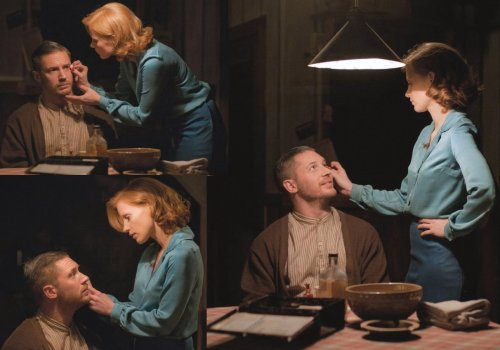 Forrest & Maggie in Lawless.  I love this progression of images: Forrest goes from quite sullen (or scared), to completely entranced and then quite happy.