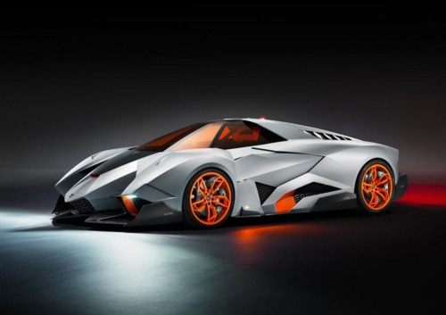 Lamborghini Egoista Lamborghini unveiled this radical concept car in celebration of their 50th anniversary. The two most important things in the Egoista concept are it's 5.2 liter V10 engine and it's one seat.  Image via Jalopnik.com