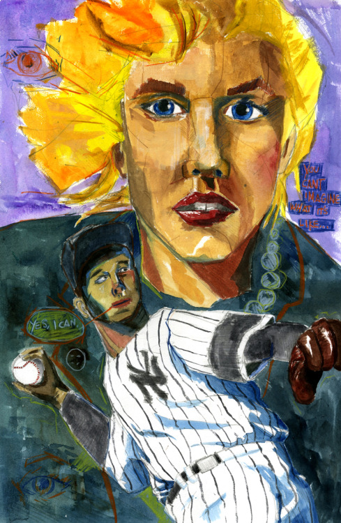 "Marilyn Monroe and Joe DiMaggio for an as yet un-named project. 13x19"" gouache and pencil on paper. Prints here."
