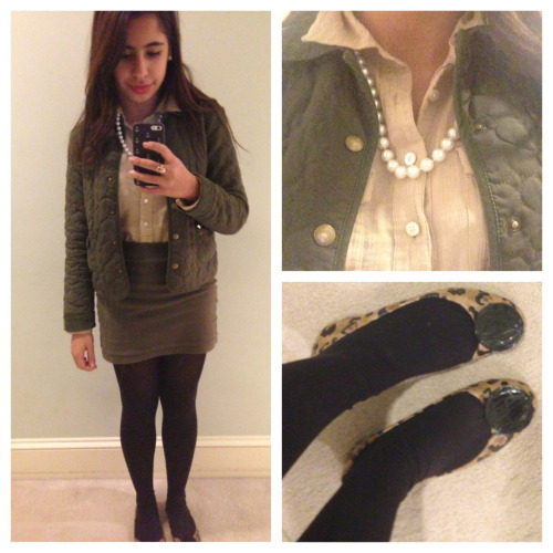 Ootd! Skirt- Forever21 Shirt- Talbots Jacket- I've had it for ages, so I dont know But I have seen similar ones by Barbour Necklace- pearls  Shoes- Libby Edelman
