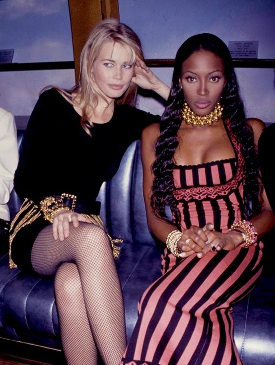 80s-90s-supermodels: Claudia Schiffer & Naomi Campbell, early 90s