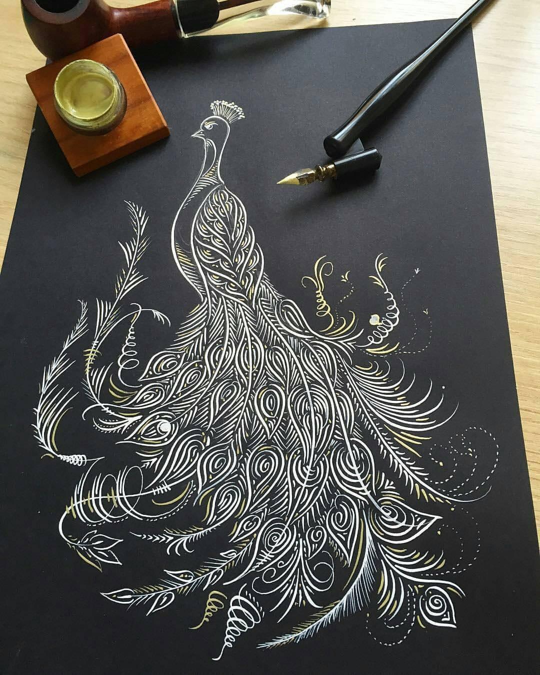 Iamtrait calligraphy masters flourishing calligram by