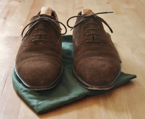 Made in the suede. Suede captoes by Alfred Sargent for Sid Mashburn - easily one of my favorite eBay finds.