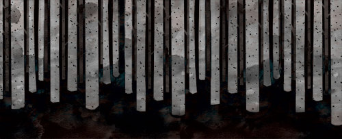 Birch trees at night. If you take the previous snowy woods scene and invert it, you end up with a nighttime birch trees scene. Photoshop magic!