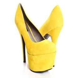 MUSTARD FAUX SUEDE CLOSED TOE ULTRA HIGH PLATFORM PUMP HEELS