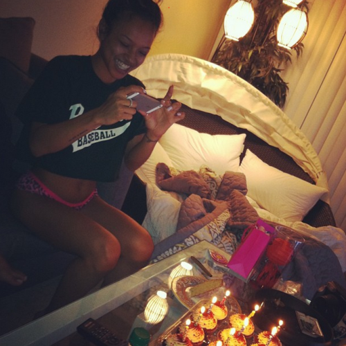 "teamkaetran:  ""Happy bday you chinky bish! @karrueche 😘"" -@fefi_doesit"