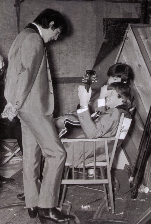 Relaxing behind the scenes of A Hard Day's Night at the Scala Theatre. 31st March 1964