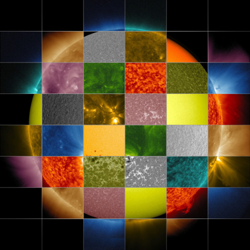 8bitfuture:  Image: NASA's different views of the Sun. This collage of solar images from NASA's Solar Dynamics Observatory (SDO) shows how observations of the sun in different wavelengths helps highlight different aspects of the sun's surface and atmosphere. The collage also includes images from other SDO instruments that display magnetic and Doppler information.)