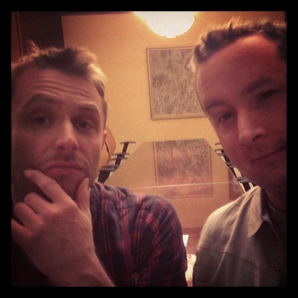 If you were an iPhone looking at me and @nerdist, this is what you'd see. #doubleselfie