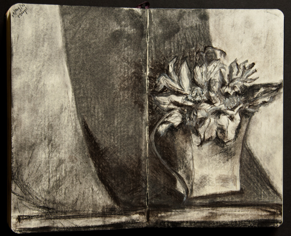 studio-maryel:  I used charcoal, black and white pastel, pencil to draw a dried bunch of flowers.  Was a great fun!  I seldom re-blog other people's work over here but hey!—this is love!There's a new artist coming to the town.