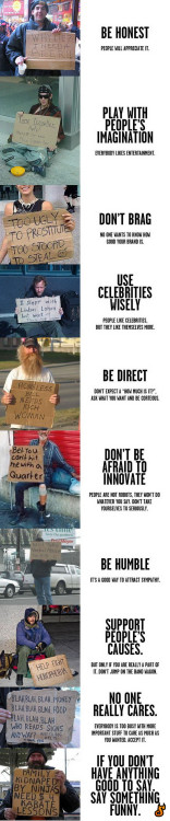 helloyoucreatives:  A guide to good copy by homeless people.