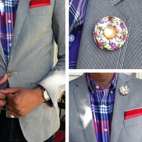 Stripes & Flowers    This is an amazing Summer look with one of our lapel flowers. We hope you're ready for Summer and can find a space on your lapel for one of our pieces.    Buy Your Lapel Flower or Bow Here!