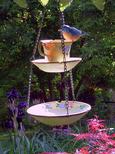 rockstar-on-a-budget:  This adorable bird feeder is easy to make! All you need is a bowl, saucer, teacup, and some chain.