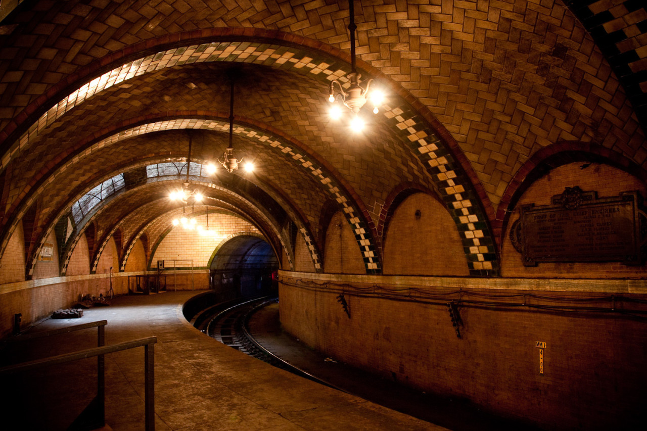 threeplydream:  Abandoned City Hall Subway Station in New York  Awesome, the major metro equivalent of an Old West ghost town.