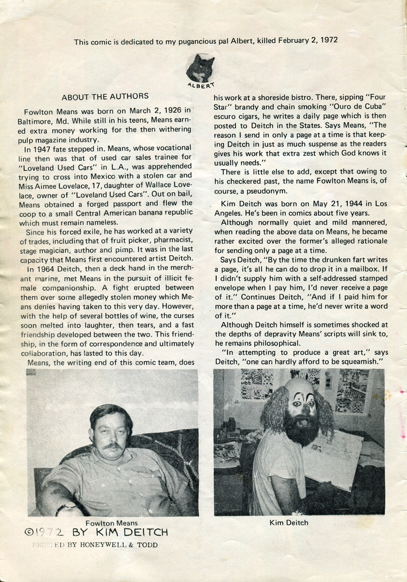 Inside front cover of Corn Fed Comics, 1972 Note dedication to dead cat and terrifying photo of Kim Deitch.
