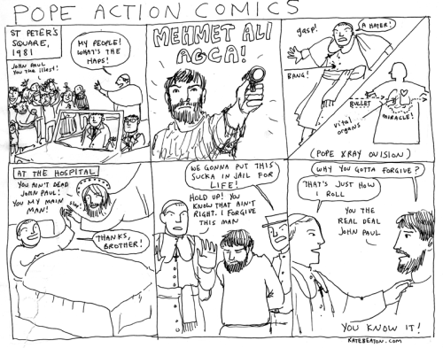 catholic-on-the-internet:  Kate Beaton has some wonderful comics about history! (It seems, from my own observations and those of my sister, that her humor is more geared towards the ladies (but not explicitly.) Maybe it is only that our husbands do not have the proper mindset to appreciate the jokes.) She uses some swears and some suggestive material, but nothing worse than what you might see on TV.  Reason #1409 Pope John Paul II was and always will be awesome.