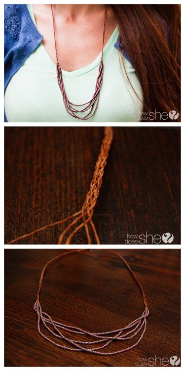 DIY 5 Strand Braided Bead Necklace Tutorial from How Does She? here. What I like about this tutorial is that is is really easy and cheap to make - after you braid the 5 strands you just knot, add beads to each strand, and knot again.