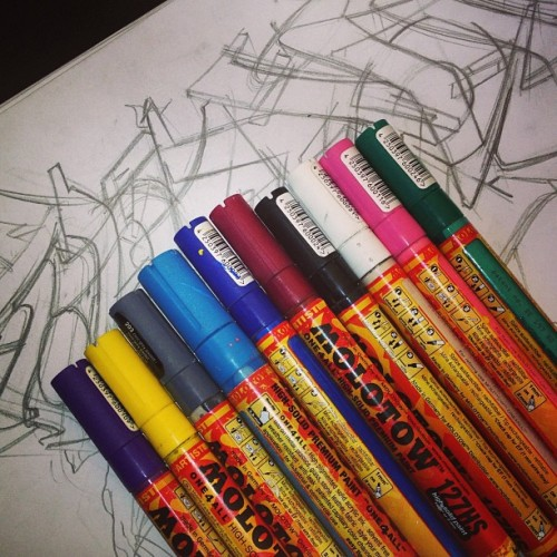 sirblaez:  Supplies. #graffiti #sketch #molotow