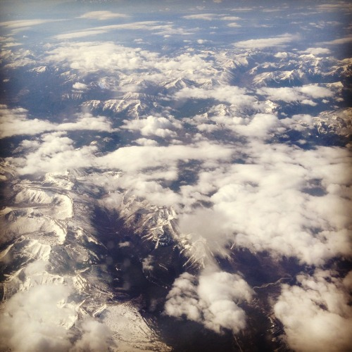 Plane view of Rocky Mountains
