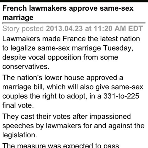 Woo go France! #ISupport #LGBT #SameSex #Marriage #LoveIsLove