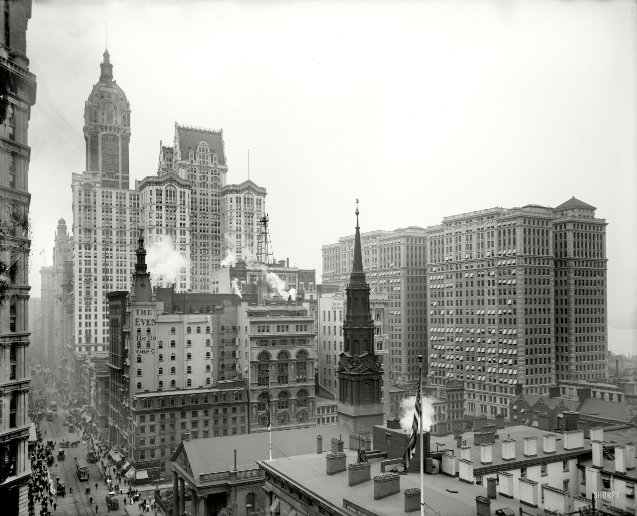 "New York circa 1910. ""Looking down Broadway from the Post Office. Singer, City Investing and Hudson Terminal Buildings."" Detroit Publishing."