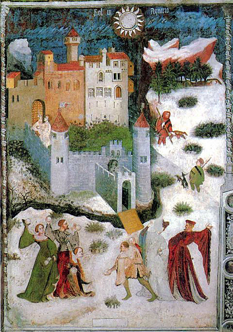 Medieval people actually having a snowball fight -Castle of Trento ~14th century