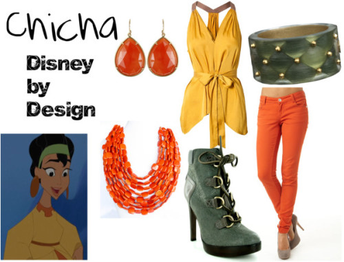 "Chicha from ""The Emperor's New Groove"" BCBG Max Azria vneck shirt, $235 / Paris Blues colored denim skinny jeans / Tory Burch lace up booties / Irene Neuwirth carnelian earrings / Alexis Bittar gold jewelry / Orange statement necklace"