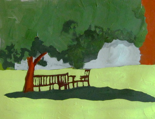 """Beckoning Shade at the Academy"" Minimalist landscape."