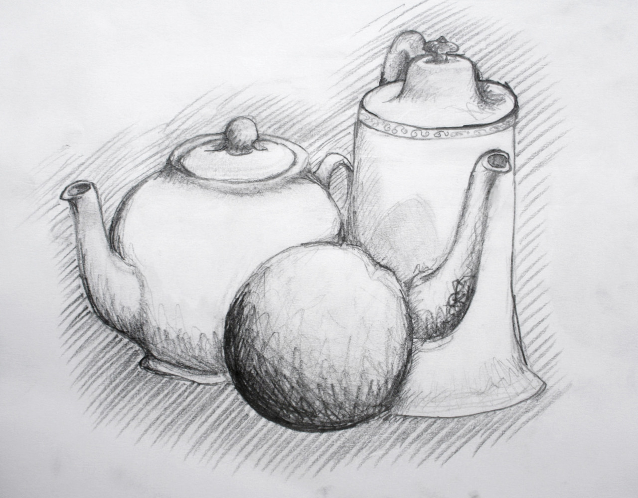 We sketched tea kettles and a fake citrus (I think it was supposed to be an orange) in art class a while ago… And I'm really bad at making sketches look good on the computer forgive me.  Pencil sketch