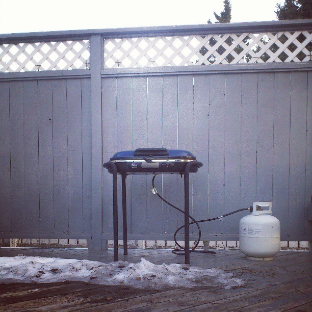 There's still snow on the deck, but it's finally barbecue season. (at Heritage Neighbourhood)
