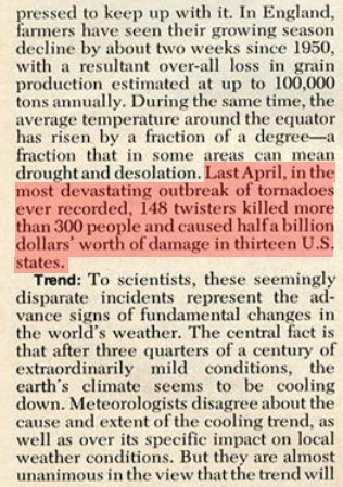 "1975: Newsweek says Tornado outbreak due to ""global cooling."" (via Newsweek in 1975: Tornadoes result of 'global cooling' 