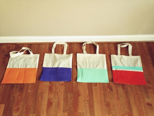 breakfastwithalex:  I love feeling crafty. DIY color block bags.