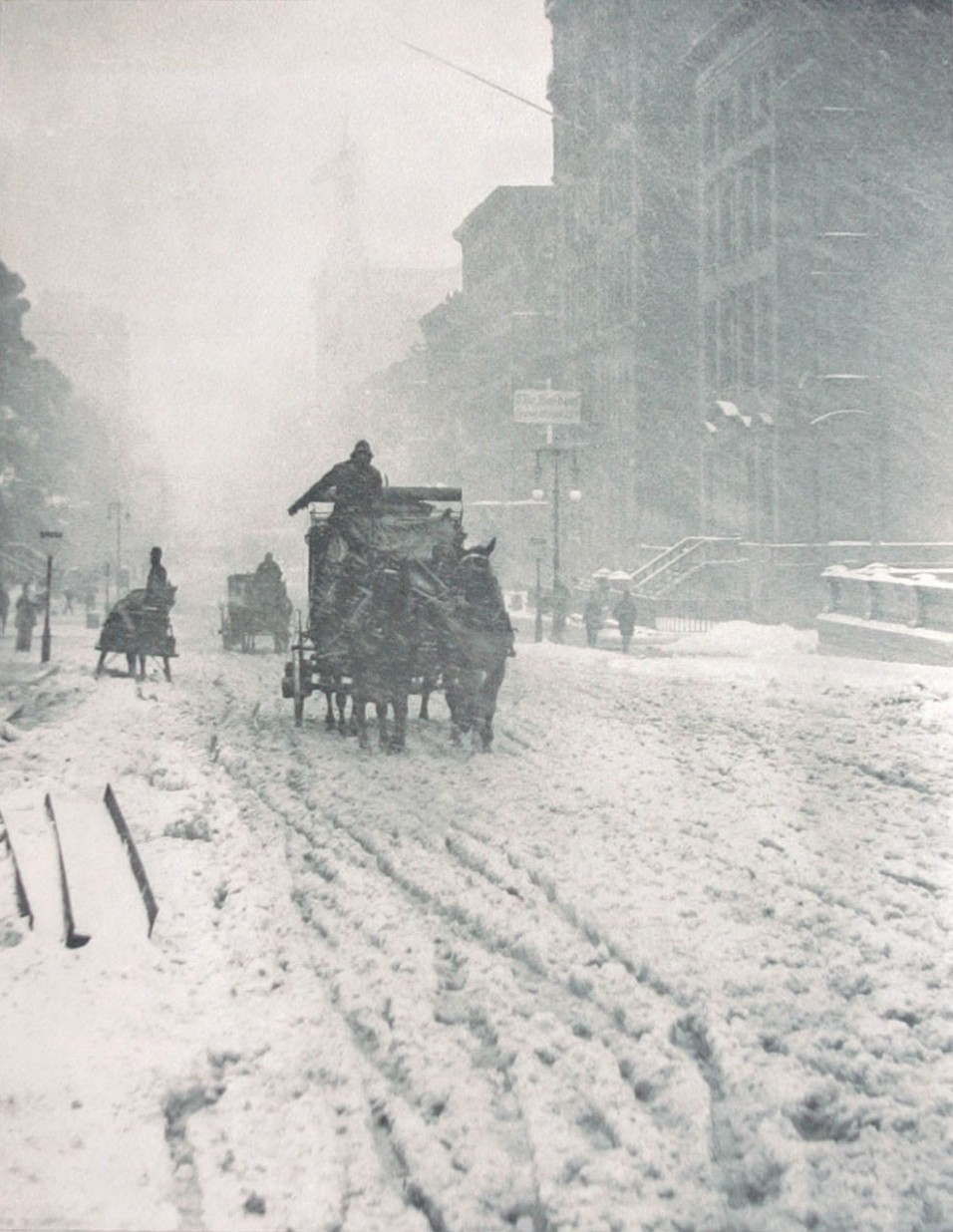 Apparently, it's always been hard to find a cab during New York blizzards.  1893 'Winter on Fifth Avenue' - Alfred Stieglitz, via retronaut