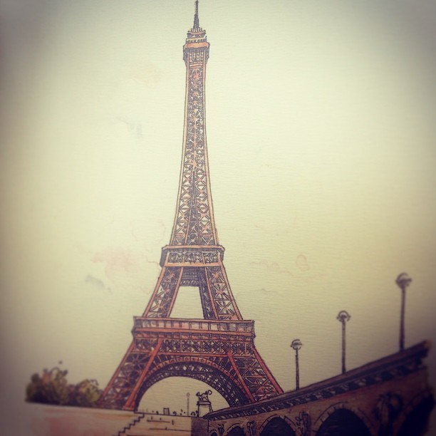 Missing it already! #americansinparis #cityoflight #eiffeltower #watercolormemories