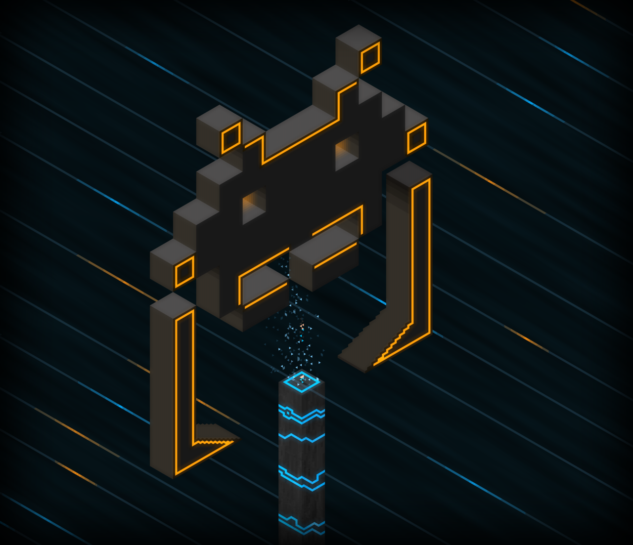 An invader in Tron, made with Hexels and Photoshop by @Ttstreet