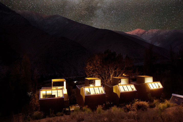 Stargazing At The Elqui Domos Hotel In Chile | Designed by RDM Arquitectura | Photos by James Florio  In the heart of the mythical Elqui Valley in Pisco, surrounded by the Andes Mountains, 500km north of Santiago in central Chile, lies a magical place that allows for star-spangled dreams beneath the clear pure sky. Combining stargazing and specialized astronomic tours with night-time horseback riding, meditation and even tarot readings, Elqui Domos is a hotel quite like no other. It was completed in 2005 to fulfil its owners' desire to observe and enjoy the grandeur of the one of the world's most star-filled skies. It is one of only seven astronomic hotels around the world and the only one in the Southern Hemisphere, offering breathtaking views of the magic skies draped over the Elqui Valley (the valley is renowned for its sharp, clear skies, as it happens to sit under one of the clearest atmospheres in the world). The lack of rain and pleasant weather all year round set the perfect conditions for astronomic tourism, where guests can gather to enjoy a unique chance to liaise with the stars.  (via Yatzer)   I want to go there