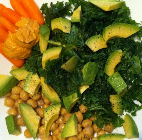 Clean Eatin'!  Raw kale with lemon and olive oil  Avocado Chickpeas Carrots and hummus Sea salt & cracked black pepper   Perfect for after a Kripalu yoga class!  -Courtney