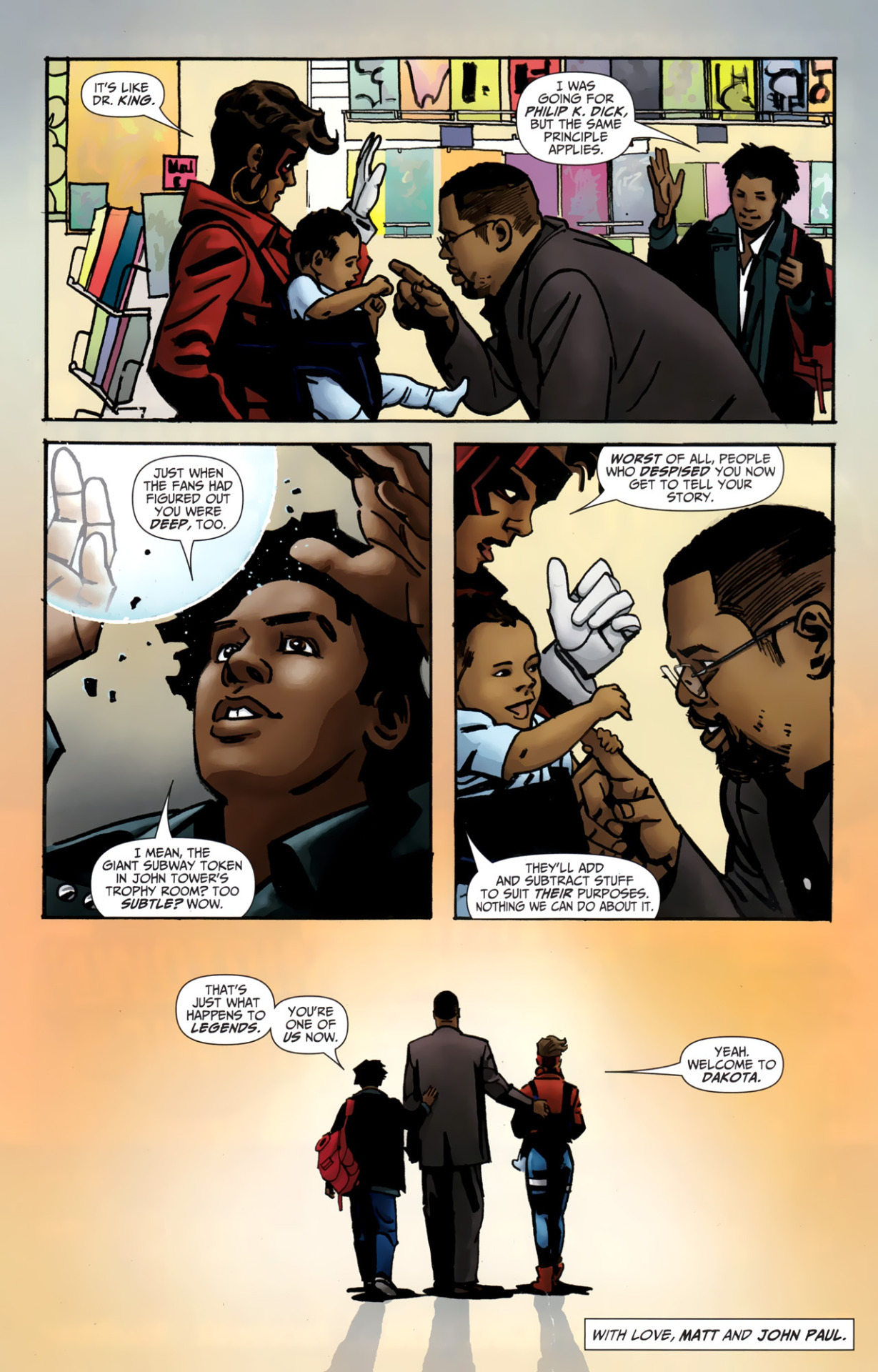 racialicious:  iamdavidbrothers:  I want you to keep this two-page story by Matt Wayne, John Paul Leon, Noelle Giddings, and Dave Sharpe in mind this month. I want you to think of this every time someone — anyone, myself included — invokes Dwayne McDuffie's name. I want you to think about what they have to gain when they say the man's name.  I'm not even a comics fan, and this got me choked up a little.